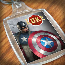 Personalised CAPTAIN AMERICA  KEYRING, Lunch Bag, son daughter grandson sister
