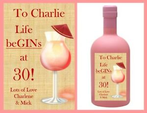 Personalised Birthday Pink Gin Bottle Label Gift Fun Novelty Sticker For Bag etc
