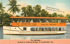 Florida, FL, Ft Lauderdale, The Abeona Scenic Boat Ride Linen Postcard
