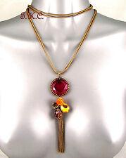 Vintage Antique Gold Chic Tassel Charms Gypsy Rose Gem Filigree Pendant Necklace