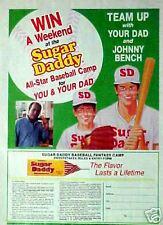 1990 Johnny Bench Reds Baseball Sugar Daddy Candy Sports Memorabilia Promo AD