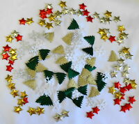 CHRISTMAS Pack 1 of 140 Mixed Embellishments = 20 ea of 7 types @ 5c each