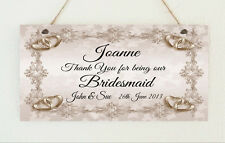 Beautiful Personalised Bridesmaid Wedding Hand Made Gift Sign Plaque Marriage