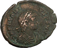 ARCADIUS with labarum & globe Ancient Roman Coin Chi-Rho Christ monogram i35628