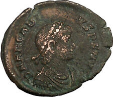 ARCADIUS with labarum & globe Ancient Roman Coin Chi-Rho Christ monogram i35628