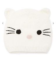 White Knit Kitty Cat Ear Winter Beanie NWT OS