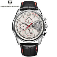 PAGANI DESIGN Chronograph Waterproof Leather Men's Quartz Military Wrist Watch