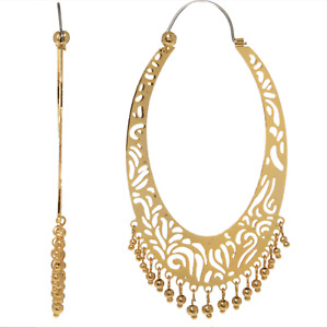 Les Nereides 14 ct Gold Plated Large Hoop Earrings + Pouch Filigree Dangly Boho