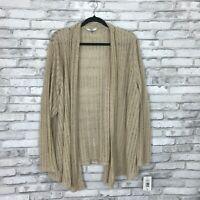 Alia Womens 3X Open Front Loose Knit Cardigan Long Sleeve Lightweight Sweater