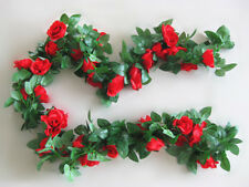 RED 16 Head Artificial Rose Flower Garland Home Office Restaurant Market Decor