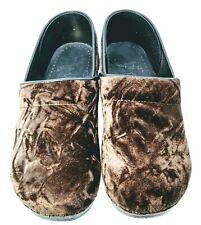 Dansko Clogs EUR Sz 40 US 9.5-10 Brown Velvet Stapled Professional Slip On Shoes