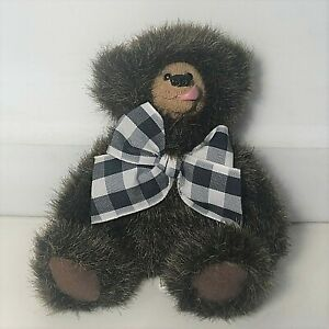 Kimbearly's Originals Mini Willie Bear with Plaid Bow A & A Plush Jointed