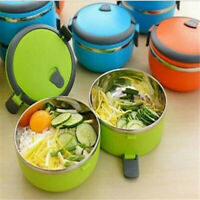 Stainless Steel Insulated Round Lunch Box Thermos Bento Food Container Travel