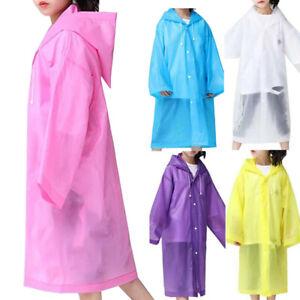 Kinder Regenmantel Langarm Regenjacke Knopf Kapuze Regenschutz Wasserdicht Jacke