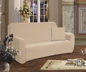 "New Elegant Comfort Jersey Knit Love Seat Cover Slipcover 70"" x 120"" - Khaki Tan"