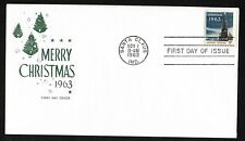 #1240 5c Christmas '63 ( Christmas Tree & White House) House of Farnam FDC