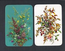#850.133 vintage MINIATURE swap card -NEAR MINT pair- Floral arrangements
