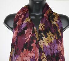"""Scarf Floral Purple Eggplant Gold Rose 70"""" x 20"""" Fringe"""