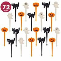 72 Pack Plastic Halloween Cupcake Picks Ghost Jack 'O Lantern and Black Cat