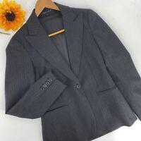 Theory Women's Size 2 Blazer Jacket Gray Black Striped Career Work Classic