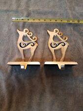 2 Christmas Stocking Holders Hanger Silver Colored Metal Reindeer