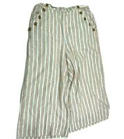 American Eagle Wide Leg Lined Linen Blend Pants Womens Large Button Accents NEW