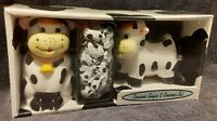 Vintage Ceramic Cow Sugar And Creamer Set By Houston Harvest Country Kitchen NEW