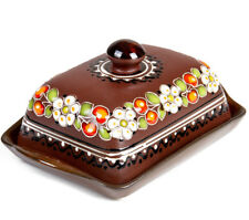 Brown Stoneware Butter Dish with Cherry Pattern Hand Painted in Ukraine