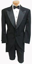 Unique Men's Black Tailcoat Cutaway Morning Coat 100% Wool Satin Peak Lapels 40R