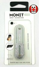 MONET Strap Adjustable Universal Phone Grip Kickstand Stand Strap Silver Glitter