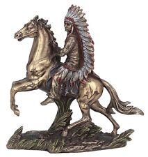 "7.5"" Chief Sitting Bull on Horseback Native American Indian Warrior Statue Indio"