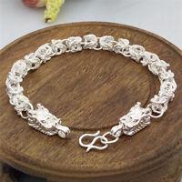 New Fashion Silver Plated Dragon Design Bracelet Bangle Chain Men BraceletGift#T