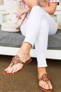 Tory Burch Miller Thong Sandal Vintage Vachetta Brown Leather 9.5