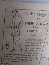 "PATRON ORIGINAL POUR LA POUPEE LISETTE  ""ROBE ELEGANTE  1924"