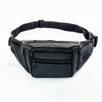 Leather Bum Waist Bag Travel Holiday Money Belt Pouch Black Change Bumbag UK