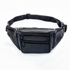 Leather Bum Waist Bag Travel Money Belt Pouch Black Change Bumbag UK Cnrt