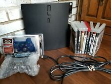 PlayStation 3 PS3 Slim 120GB Black Console, Accessories + Game Lot Ready to Play