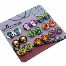 Skull Design Magnetic Clip-on Stud Earrings for Little Girls Kids Womens Mothers