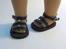 """Doll Clothes AG 18"""" Sandals Shoes Black Studded Made To Fit American Girl Dolls"""