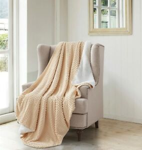 Over Sized Blanket Creamy Apricot Square Sherpa Backed Faux Fur Thick Soft Throw