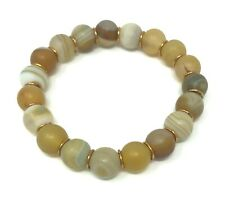 """YELLOW FROSTED AGATE 10MM  BRACELET & ANTIQUE BRONZE SPACERS ~ 6.5"""" (16.5CM)"""