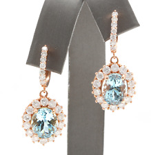 11.00Ct Natural Aquamarine and Diamond 14K Solid Rose Gold Earrings