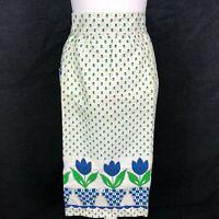 Vintage Half Waist Apron Danish Mid Century MOD MCM Blue Green Retro Pocket NICE