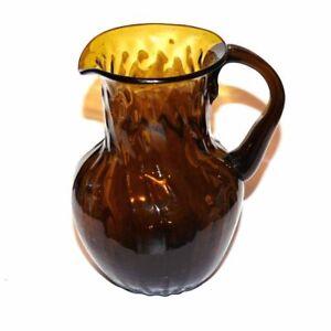 "Vintage Miniature Amber Glass Pitcher Swirl 4"""