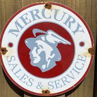 VINTAGE MERCURY DEALERSHIP PORCELAIN METAL SIGN GAS STATION SERVICE AUTO CAR USA