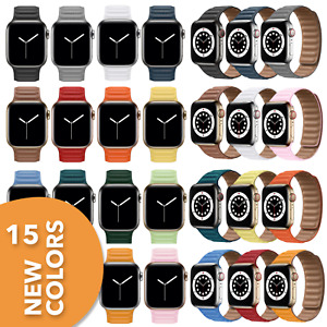 Premium Leder Magnet SOLO LOOP Armband für Apple Watch Series 1- 6 & SE 38-44mm