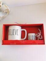 New Rae Dunn By Magenta BELIEVE Mug And Ornament Ceramic Set
