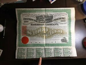 RC0242  1871 Plymouth, Kankakee & Pacific Railroad  $1000 bond GOLD combine ship