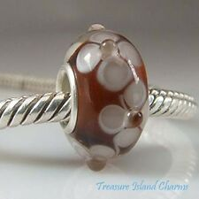 BROWN FLOWER LAMPWORK MURANO GLASS 925 Solid Sterling Silver EUROPEAN Bead Charm