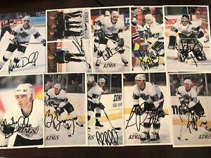 (10) 1990's AUTOGRAPH AUTO SIGNED Vintage Hockey POSTCARD Lot Los Angeles Kings